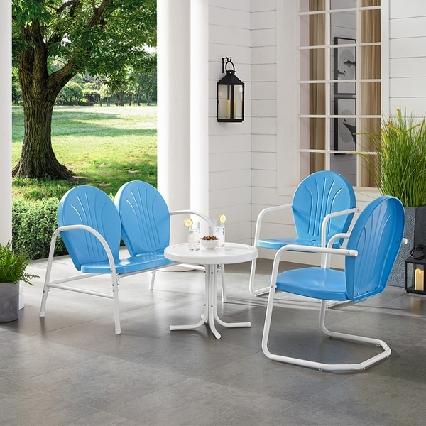 Shop Griffith Sky Blue Finish Loveseat And 2 Chairs White