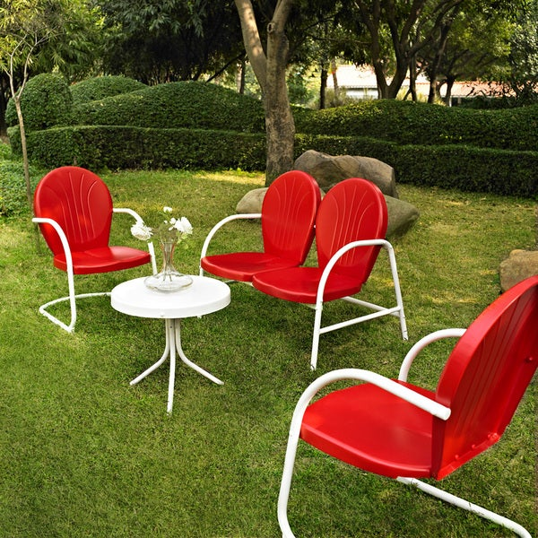 Griffith Red Metal 4 Piece Outdoor Seating Set With Side Table Loveseat And 2 Chairs Free Shipping Today 15278807