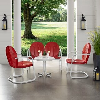 Griffith Red Metal 4-piece Outdoor Seating Set with Side Table, Loveseat, and 2 Chairs