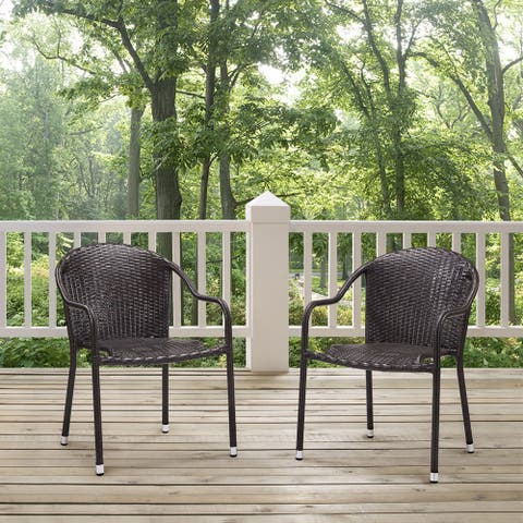 Palm Harbor Brown Wicker Outdoor Stackable Chairs