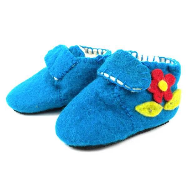 Handmade Felt Blue Zooties Toddler Booties (Kyrgyzstan)