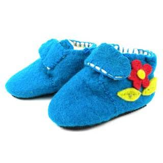 Handcrafted Felt Blue Zooties Toddler Booties (Kyrgyzstan)
