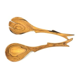 Handmade 12-inch Olive Wood Twig Salad Servers (Kenya) - Tan