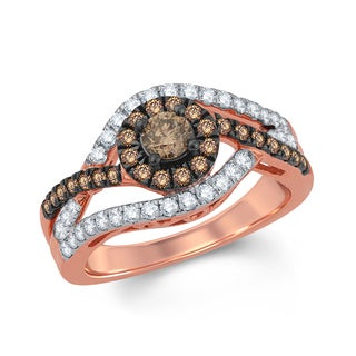 1 Carat Round Champagne And White Diamond Halo Engagement Ring In 10K Rose Gold.