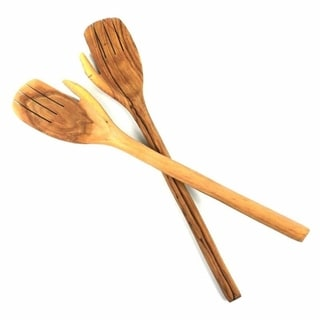 Hand Carved 17-inch Olive Wood Helping Hands Salad Servers (Kenya)