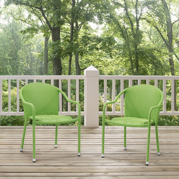 Shop Palm Harbor Outdoor Green Wicker Stackable Chairs