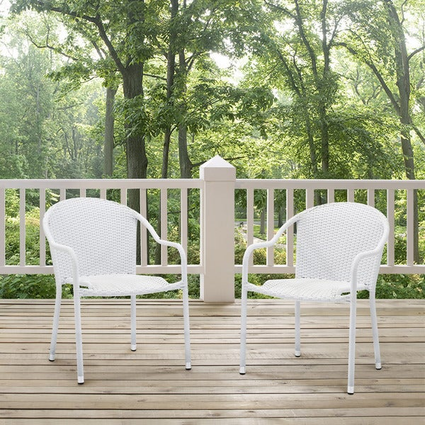 Shop Palm Harbor White Wicker Outdoor Stackable Chairs