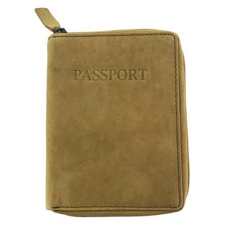 Faddism Womens Leather Minimalist Zip Around Travel Passport Wallet