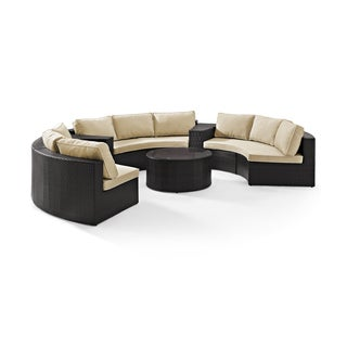 Catalina 6 Piece Outdoor Wicker Seating Set Sand Cushions Three Round Sectional Sofas, Two Arm Tables, Glass Top Coffee Table