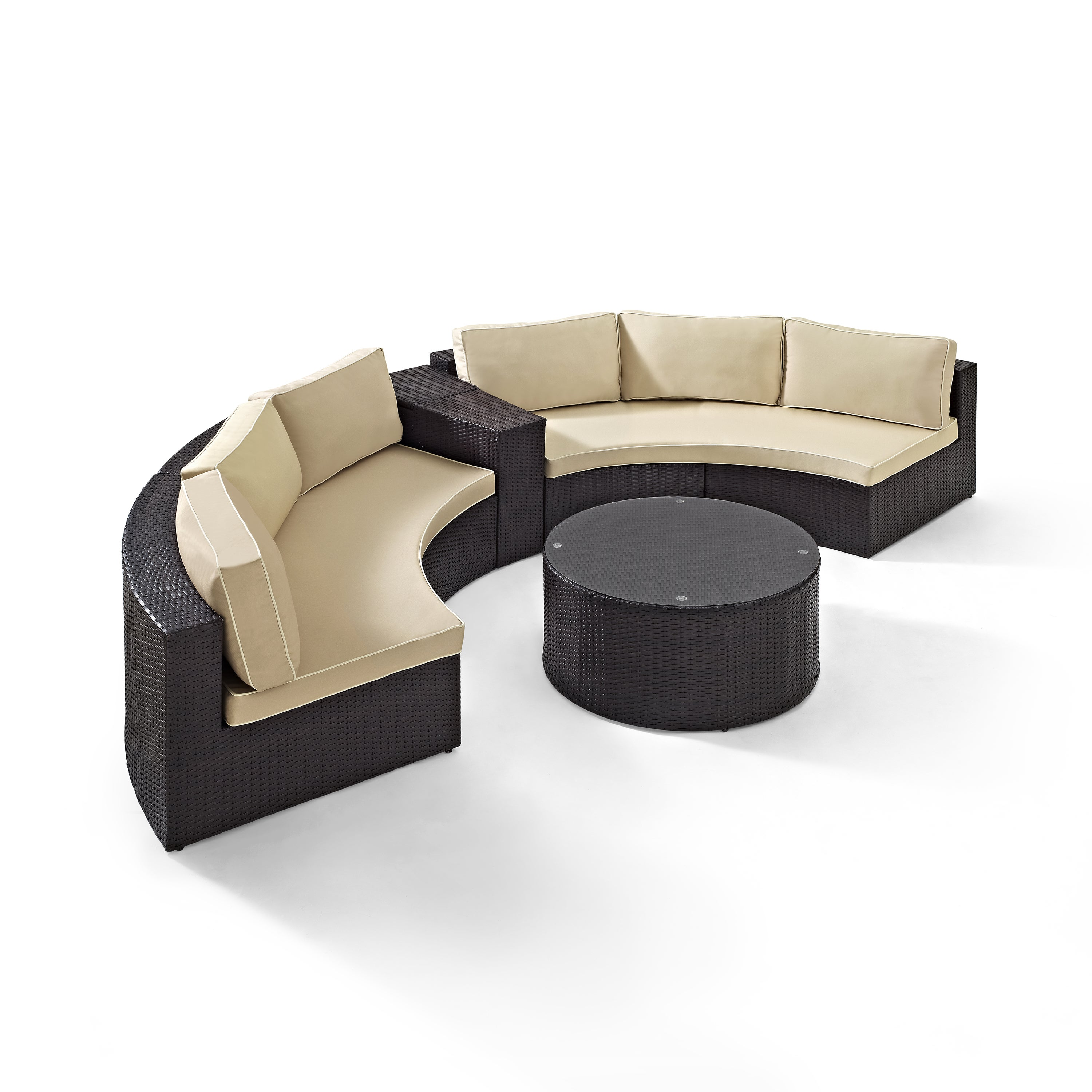 Catalina 4 Piece Outdoor Wicker Seating Set With Sand Cushions Two Round Sectional Sofas Arm Table And Gl Top Coffee