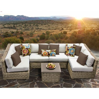 Cape Cod 7 Piece Outdoor Wicker Patio Furniture Set 07c