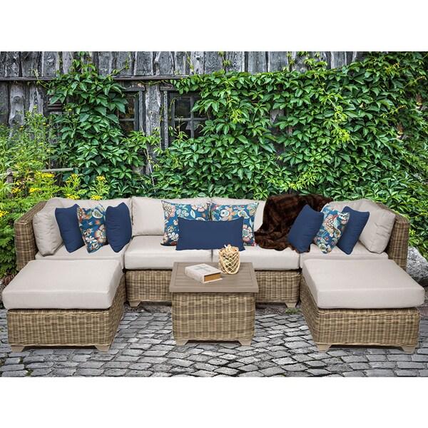 Superb Cape Cod 7 Piece Outdoor Wicker Patio Furniture Set 07a