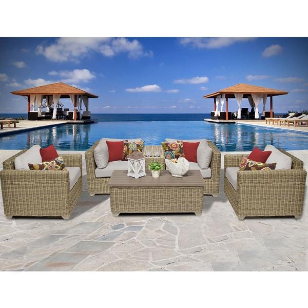 Cape Cod 6 Piece Outdoor Wicker Patio Furniture Set 06a
