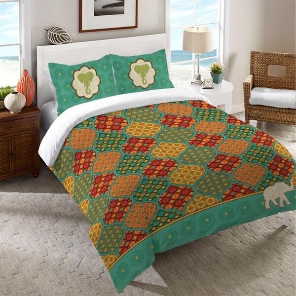 Laural Home Vibrant Elephant Duvet Cover