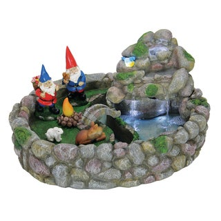 Exhart Resin AC Powered Gnome Fountain Kit With LEDs