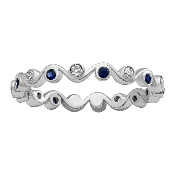 10k White Gold Blue Sapphire and 1/6 ct Diamond Eternity Band Ring (H-I, I2-I3)