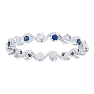 Beverly Hills Charm 10K White Gold Blue Sapphire and 1/6 ct Diamond Eternity Band Ring (H-I, I2-I3)