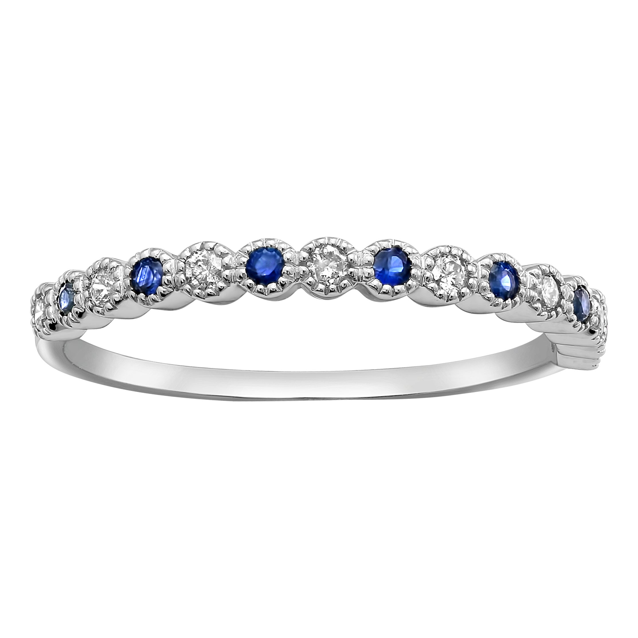 Size-7.5 Diamond Wedding Band in 14K White Gold G-H,I2-I3 1//10 cttw,