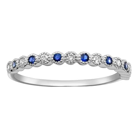 10k White Gold Blue Sapphire and 1/8 ct Diamond Anniversary Milgrain Band Ring (H-I, I2-I3)