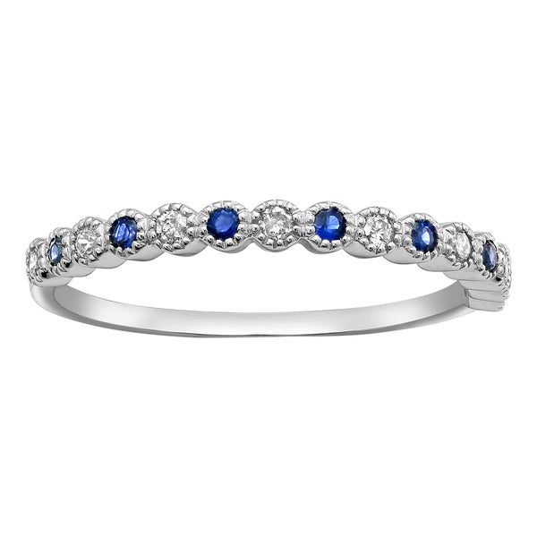 10k White Gold Blue Sapphire and 1/8 ct Diamond Anniversary Milgrain Band Ring (H-I, I2-I3). Opens flyout.
