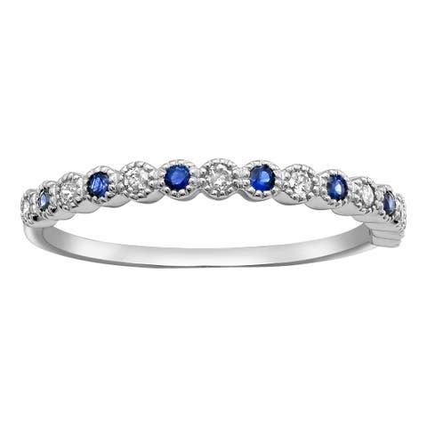 10k White Gold Blue Sapphire and 1/8 ct Diamond Anniversary Milgrain Band Ring (H-I, I2-I3)
