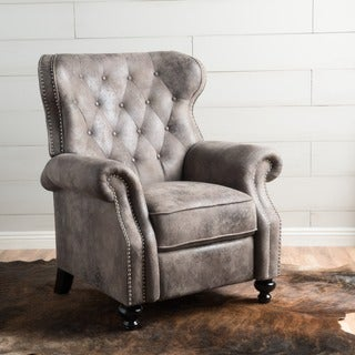 Walder Tufted Microfiber Recliner Club Chair by Christopher Knight Home