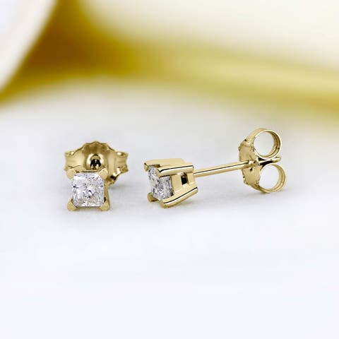 14K Diamond Stud Earring Yellow gold (1/2cttw H-I Color, I2 Clarity)