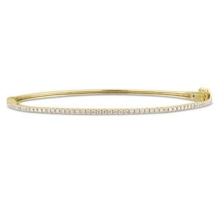 Miadora Signature Collection 14k Yellow Gold 1/2ct TDW Diamond Tennis Bangle