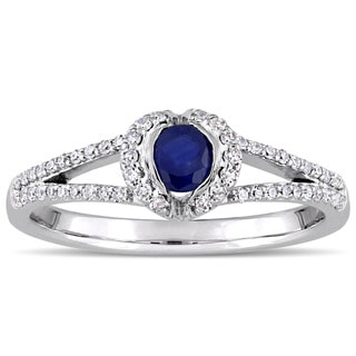 Miadora Signature Collection 14k White Gold Sapphire and 1/3ct TDW Diamond Split Shank Halo Engagement Ring