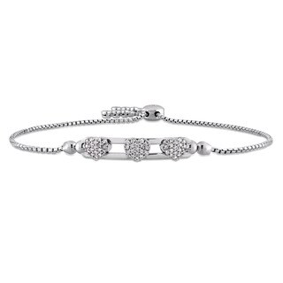 Miadora Signature Collection 14k White Gold 2/5ct TDW Diamond Bolo Heart Bracelet