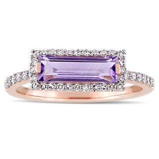 Miadora Signature Collection 14k Rose Gold African-Amethyst and 1/4ct TDW Diamond Bar Halo Ring