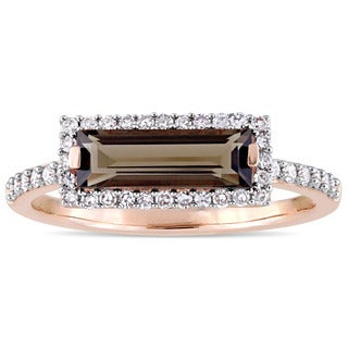 Miadora Signature Collection 14k Rose Gold Smokey Quartz and 1/4ct TDW Diamond Bar Halo Ring