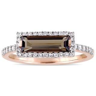 Miadora Signature Collection 14k Rose Gold Smokey Quartz and 1/4ct TDW Diamond Bar Halo Ring