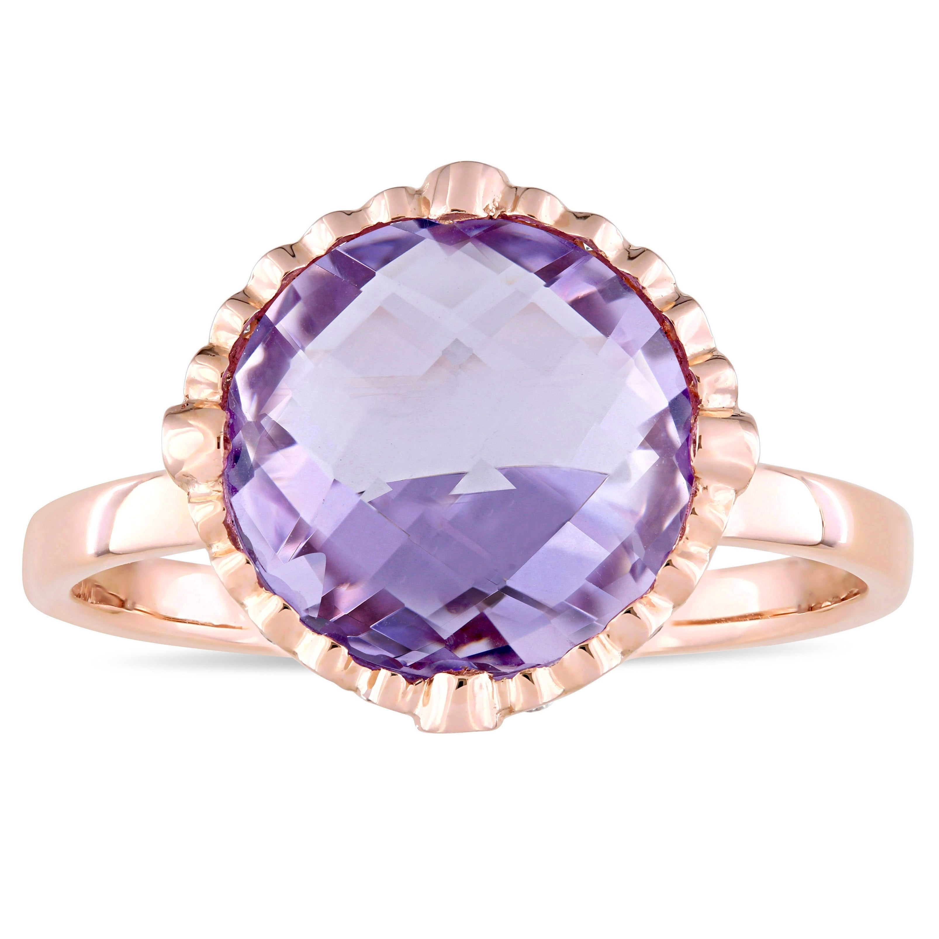 Miadora Signature Collection 14k Rose Gold Amethyst and 1...