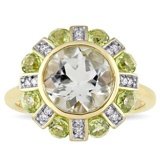Miadora Signature Collection 14k Yellow Gold Green Amethyst Peridot and Diamond Accent Floral Ring