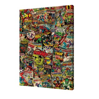 Marvel - Retro Collage' 24-inch x 36-inch Canvas by Pyramid America