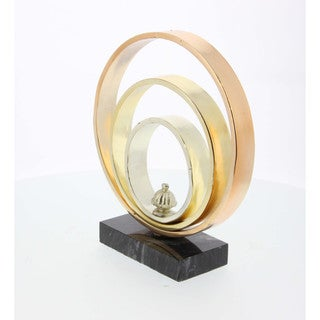 Benzara 'Tricolor Metal Ring Sculpture With Marble Base' Decoration Piece