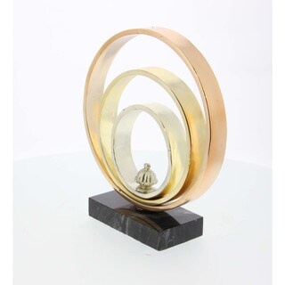 Tricolor Metal Ring Sculpture With Marble Base 9W, 10H