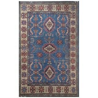 Handmade Herat Oriental Afghan Vegetable Dye Kazak Wool Rug (Afghanistan) - 5' x 6'10
