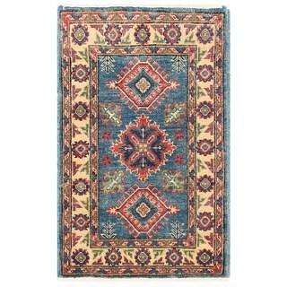 Herat Oriental Afghan Hand-knotted Vegetable Dye Kazak Wool Rug (2' x 3'3)