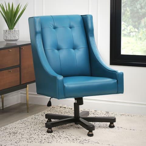 Abbyson Logan Blue Leather Adjustable Swivel Office Chair
