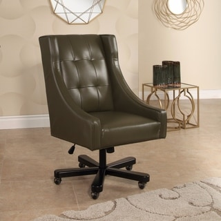 Abbyson Logan Olive Green Leather Adjustable Swivel Office Chair