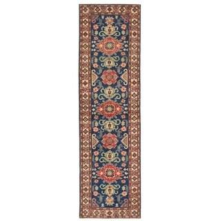 Handmade Herat Oriental Afghan Vegetable Dye Kazak Wool Runner - 2'6 x 9'7 (Afghanistan)