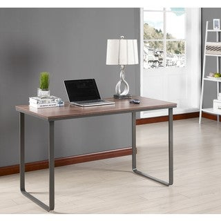K and B Furniture Co. Inc. Brown/Grey Wood/Metal Desk