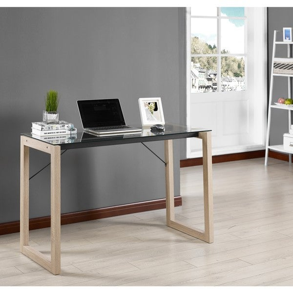 Shop K And B Furniture Co Natural Wood And Black Glass Desk On