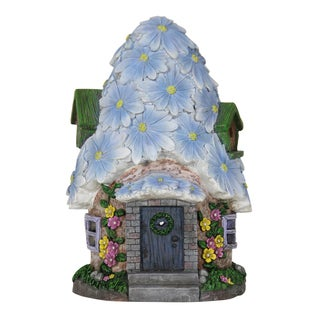 Exhart Multicolored Resin Fairy House with Solar Flower Roof