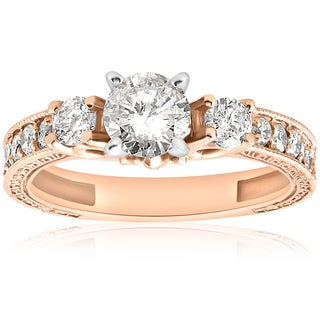 14k Rose Gold 1ct TDW Diamond Vintage Engagement Hand Engraved Ring (I-J, I2-I3)