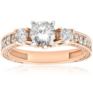 14k Rose Gold 1ct TDW Diamond Vintage Engagement Hand Engraved Ring (I-J, I2-I3)