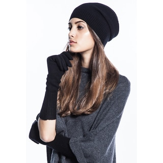 Women's Black Cashmere Beanie and Gloves