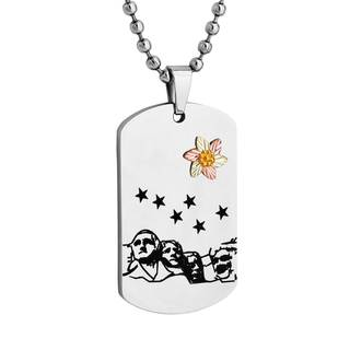 Black Hills Gold on Stainless Steel Mt Rushmore Dog Tag Pendant - Silver (Option: 20 Inch)